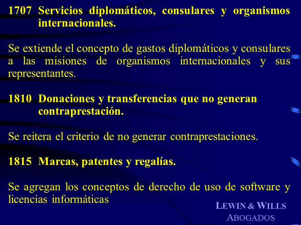 1707 Servicios diplomáticos, consulares y organismos internacionales.