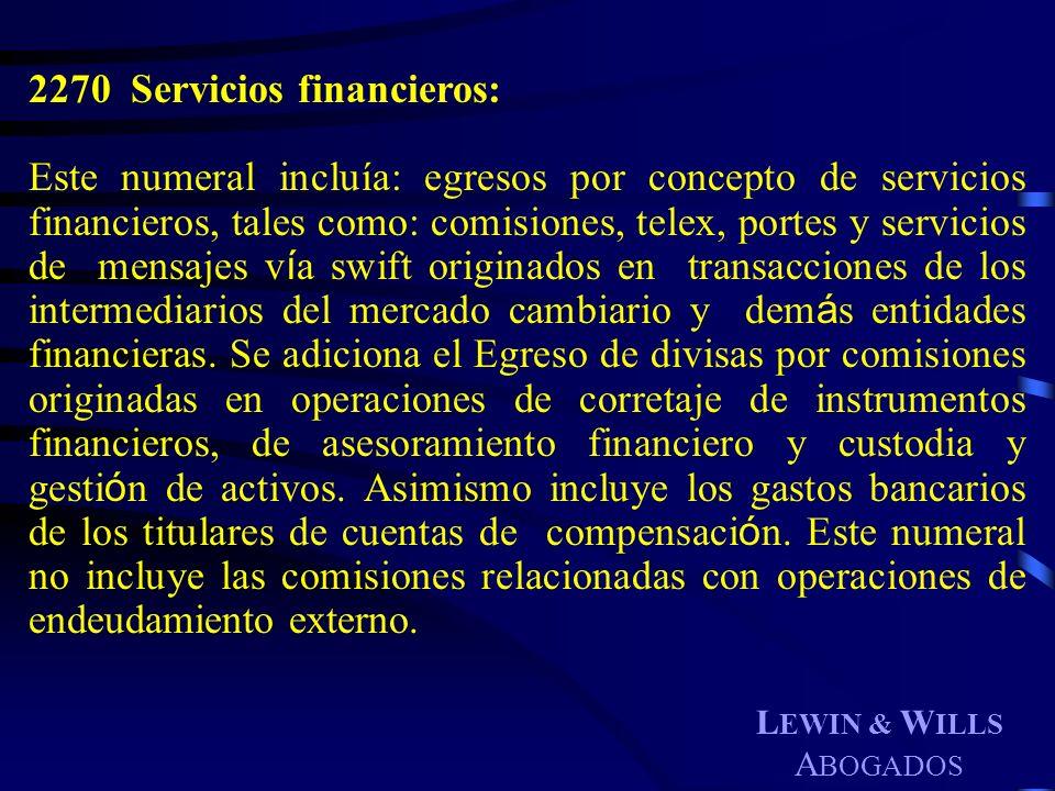 2270 Servicios financieros: