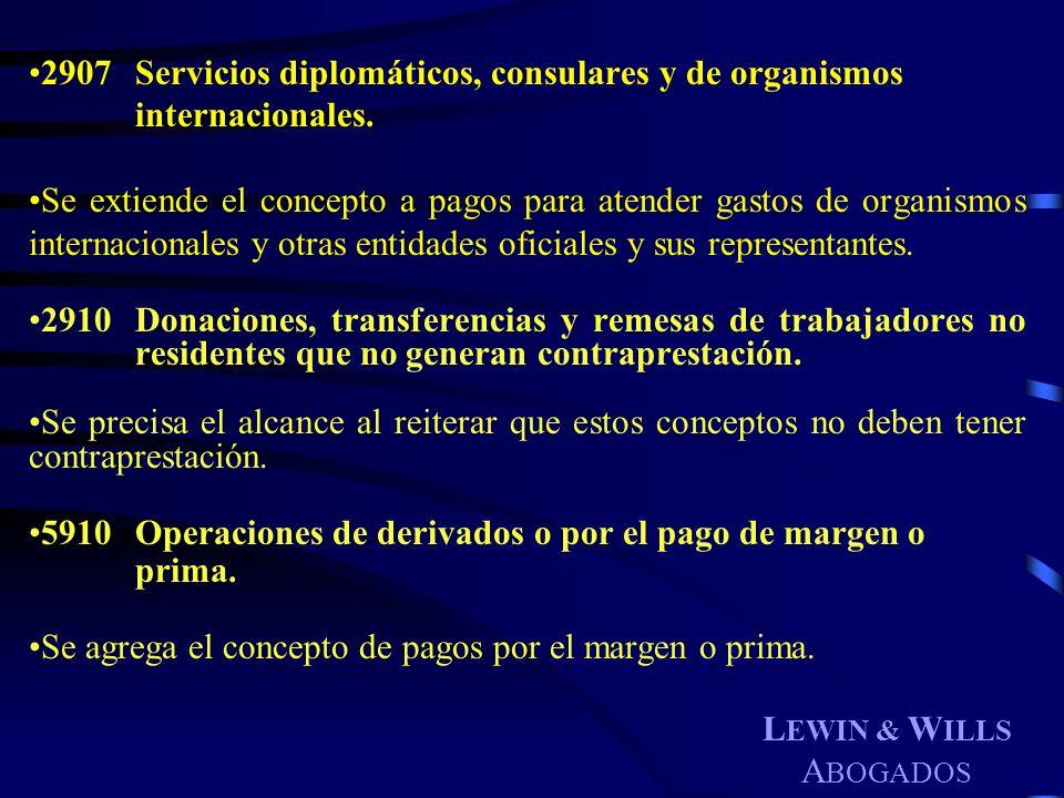 2907. Servicios diplomáticos, consulares y de organismos