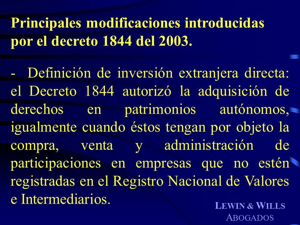 Principales modificaciones introducidas por el decreto 1844 del 2003.