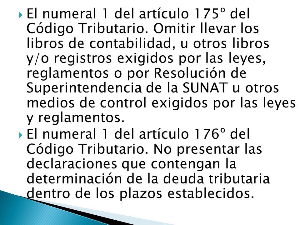 El numeral 1 del artículo 175º del Código Tributario