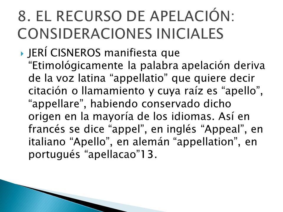 8. EL RECURSO DE APELACIÓN: CONSIDERACIONES INICIALES