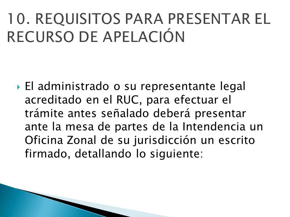 10. REQUISITOS PARA PRESENTAR EL RECURSO DE APELACIÓN