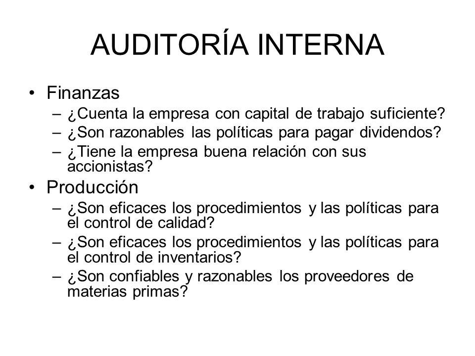 AUDITORÍA INTERNA Finanzas Producción