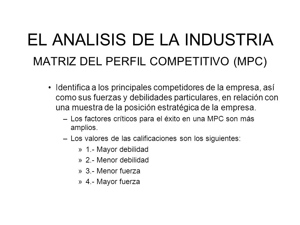 EL ANALISIS DE LA INDUSTRIA