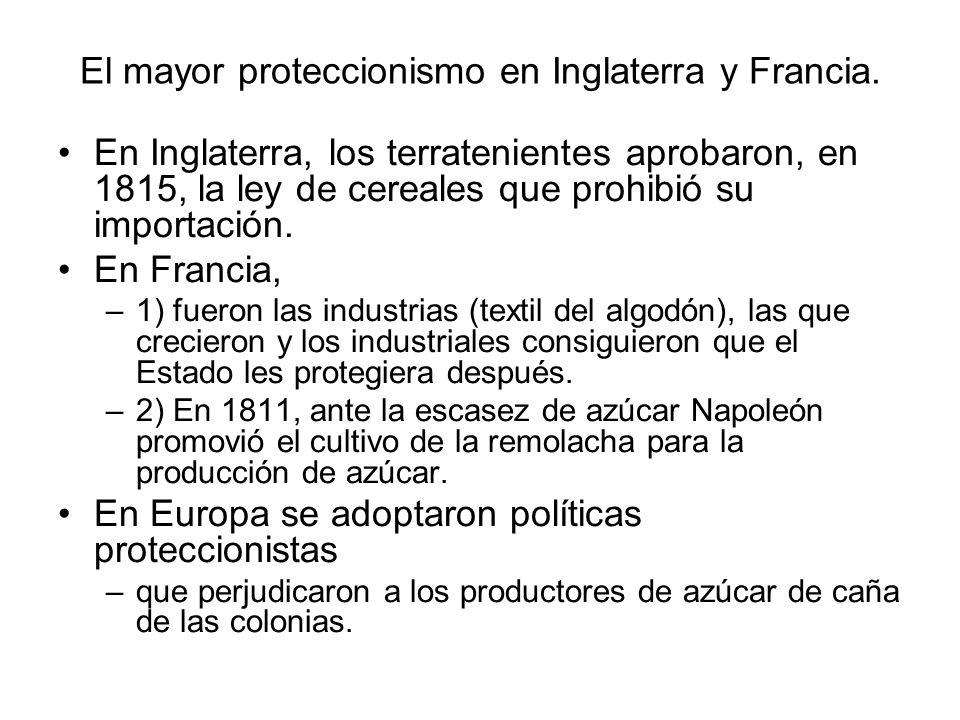 El mayor proteccionismo en Inglaterra y Francia.
