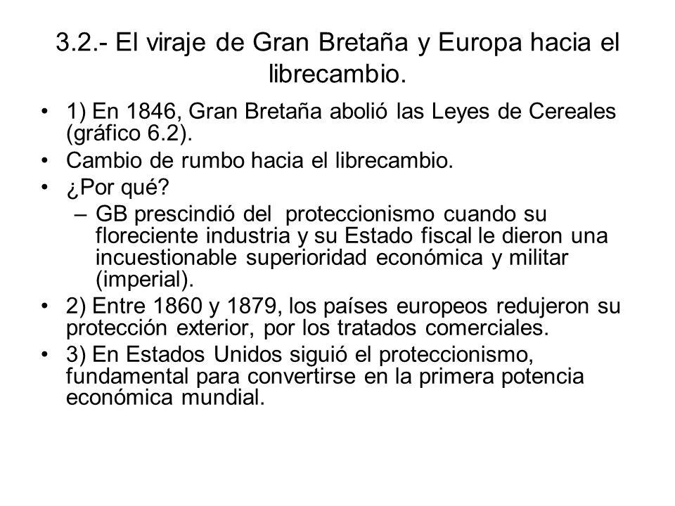 3.2.- El viraje de Gran Bretaña y Europa hacia el librecambio.