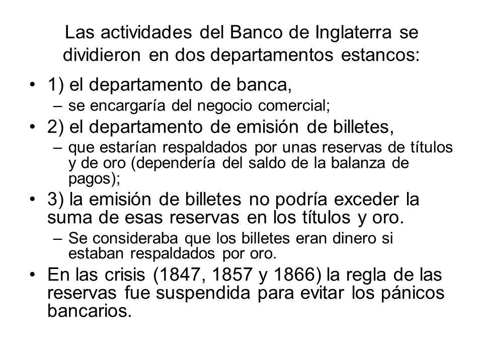 1) el departamento de banca,