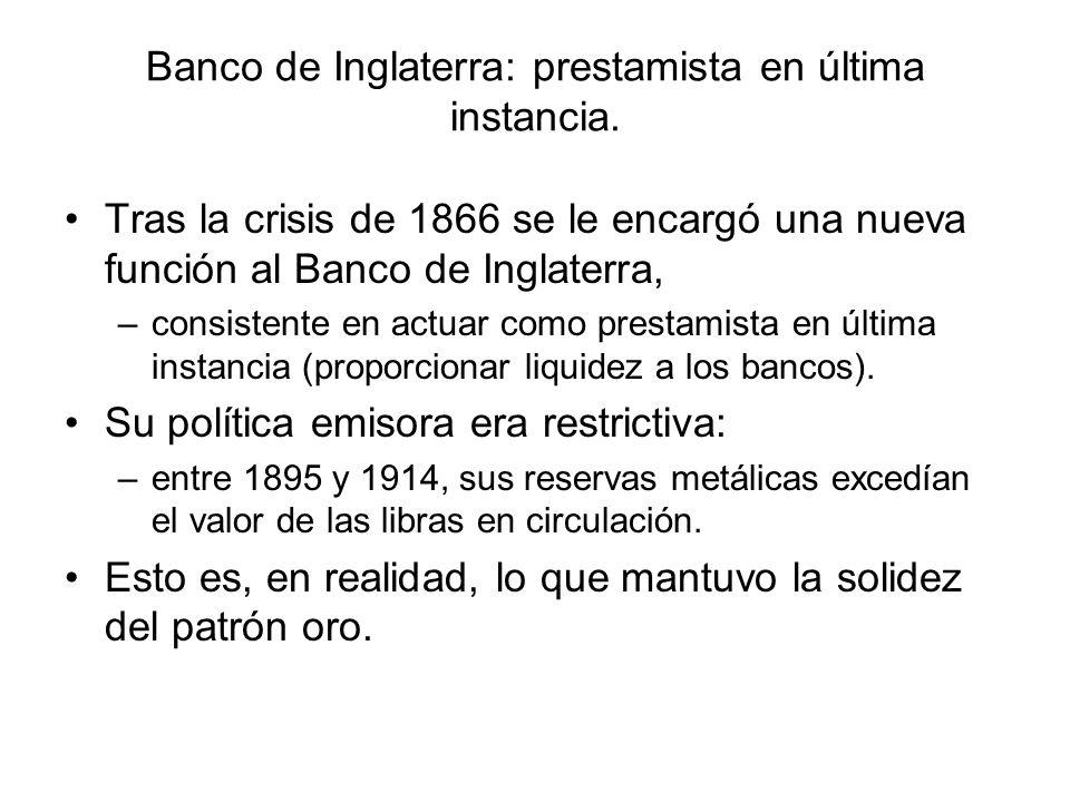 Banco de Inglaterra: prestamista en última instancia.