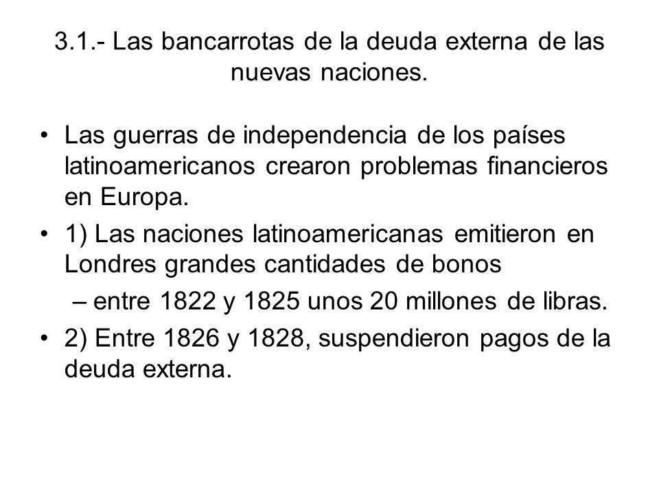 3.1.- Las bancarrotas de la deuda externa de las nuevas naciones.