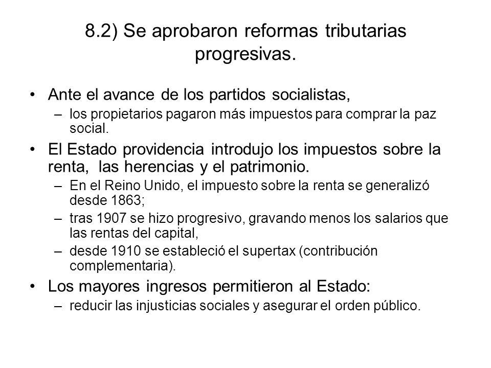 8.2) Se aprobaron reformas tributarias progresivas.