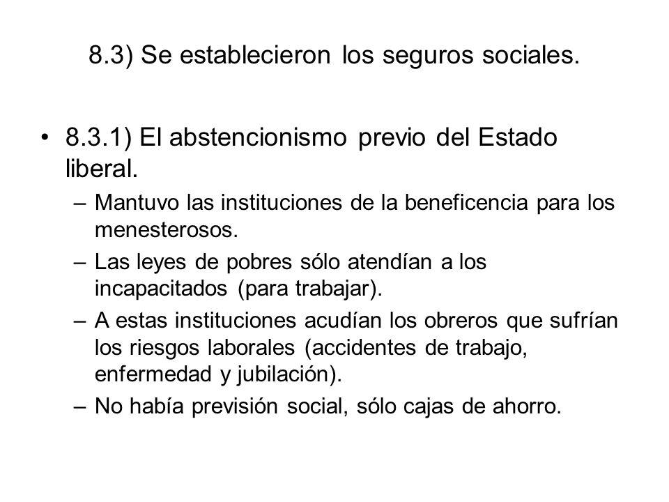 8.3) Se establecieron los seguros sociales.