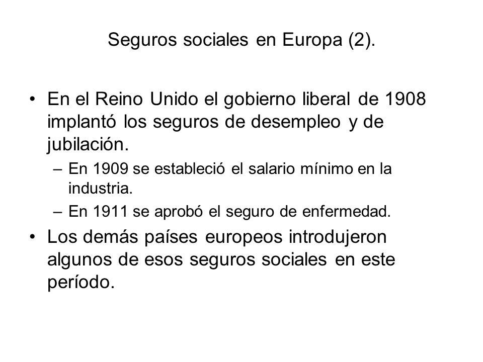 Seguros sociales en Europa (2).