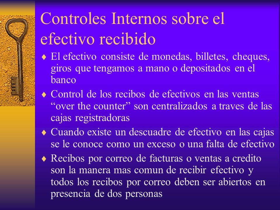 Controles Internos sobre el efectivo recibido