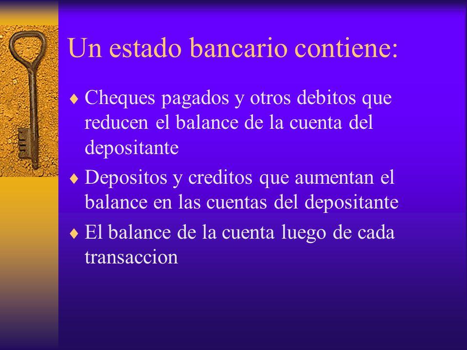 Un estado bancario contiene: