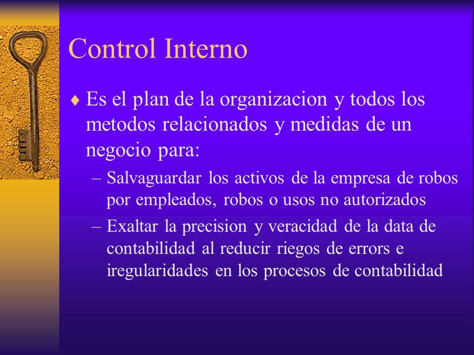 Control Interno Es el plan de la organizacion y todos los metodos relacionados y medidas de un negocio para: