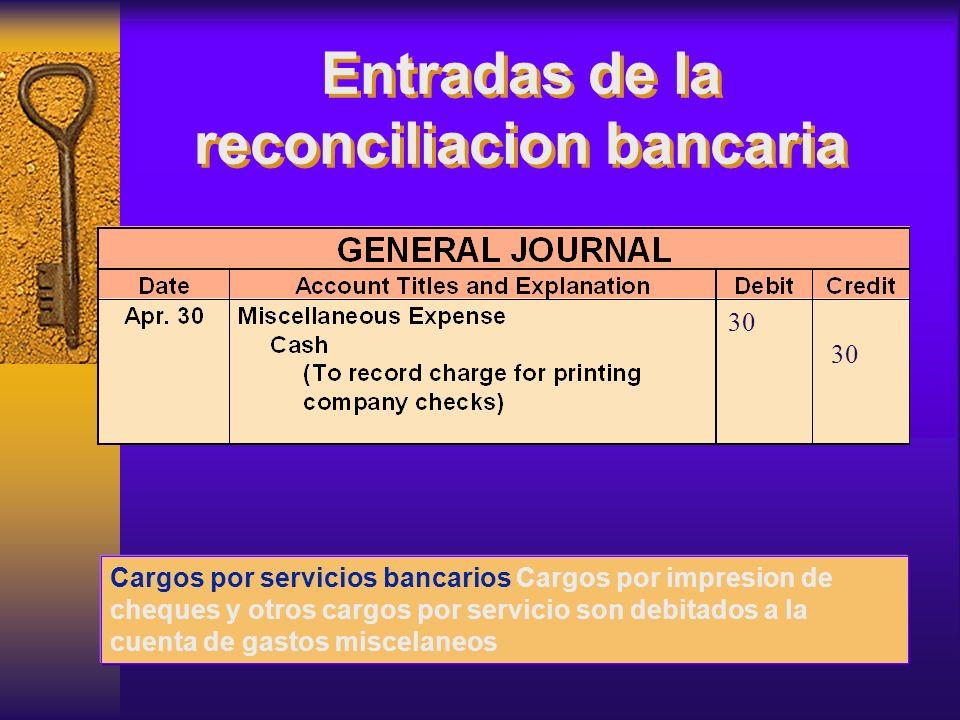 Entradas de la reconciliacion bancaria