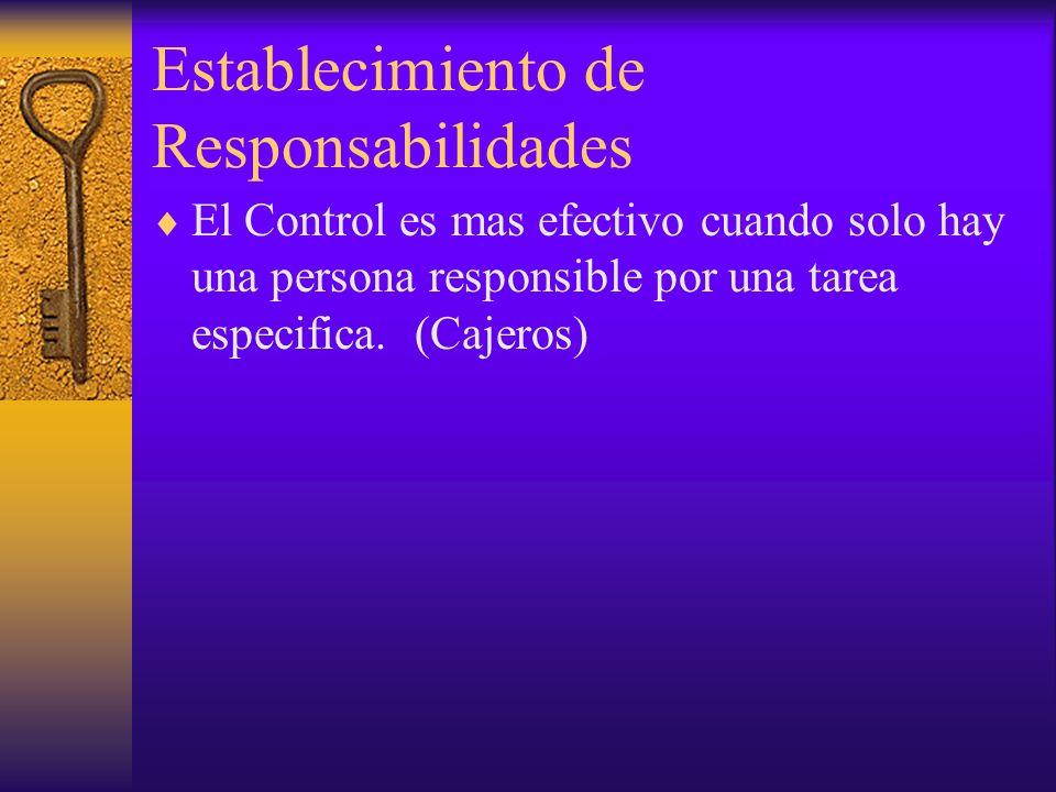 Establecimiento de Responsabilidades