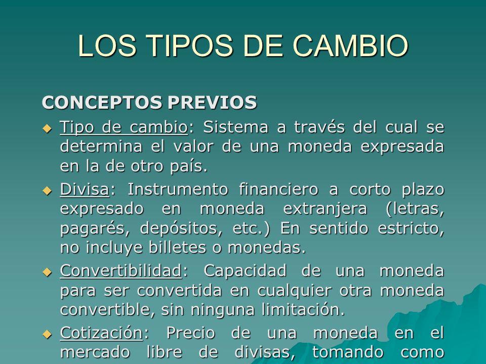 LOS TIPOS DE CAMBIO CONCEPTOS PREVIOS