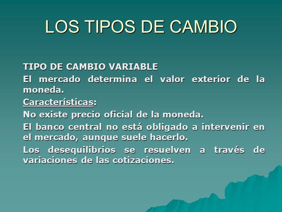 LOS TIPOS DE CAMBIO TIPO DE CAMBIO VARIABLE