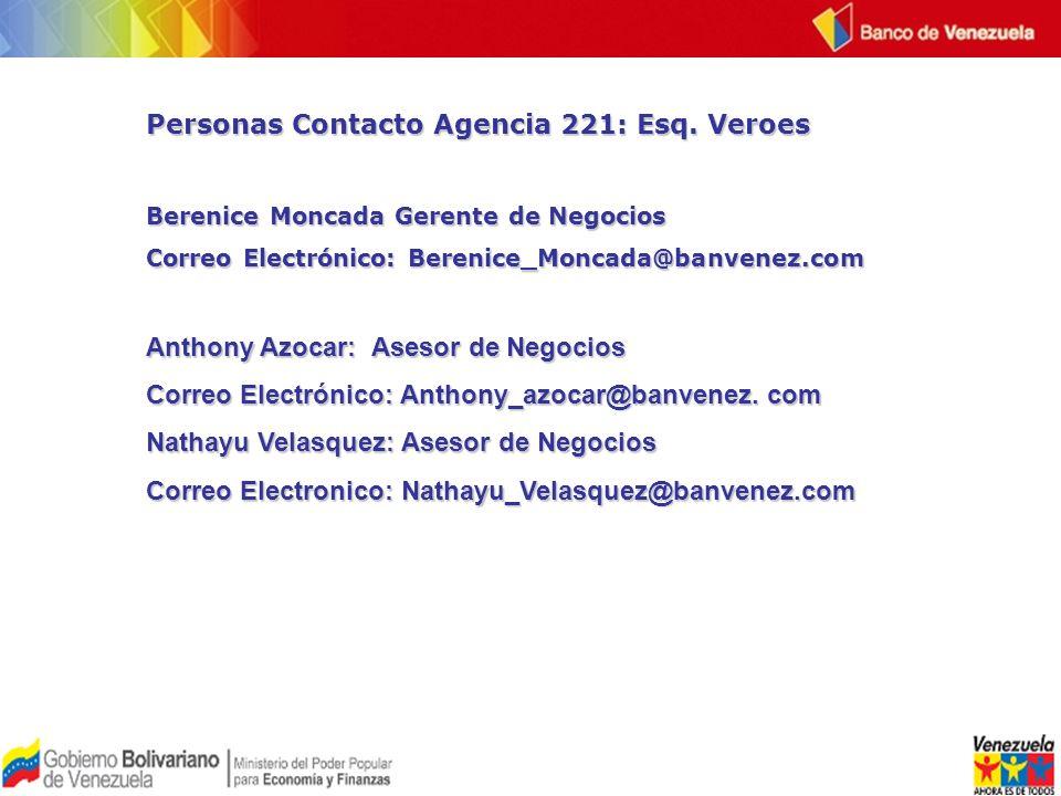 Personas Contacto Agencia 221: Esq. Veroes
