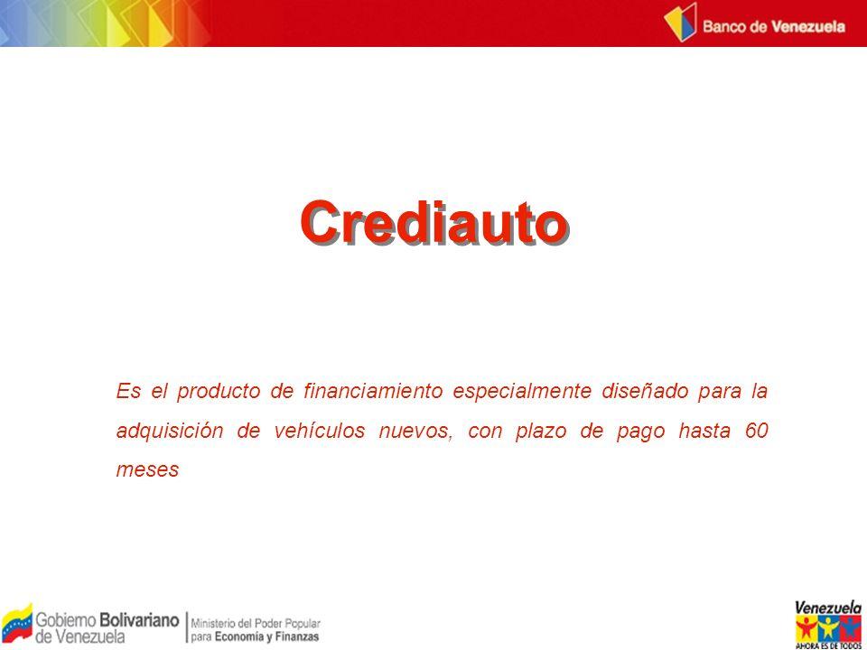 Crediauto Es el producto de financiamiento especialmente diseñado para la adquisición de vehículos nuevos, con plazo de pago hasta 60 meses.
