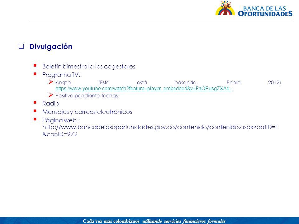 Divulgación Boletín bimestral a los cogestores Programa TV: Radio
