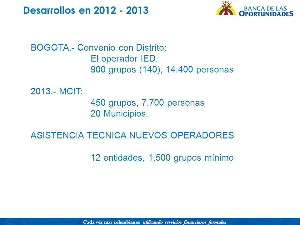 Desarrollos en 2012 - 2013 BOGOTA.- Convenio con Distrito: