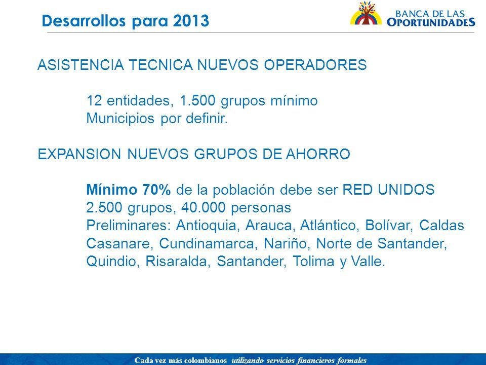 Desarrollos para 2013 ASISTENCIA TECNICA NUEVOS OPERADORES