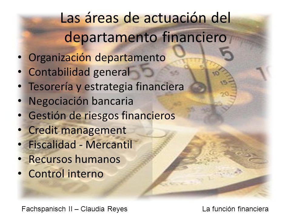 Las áreas de actuación del departamento financiero