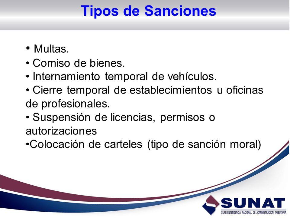 Tipos de Sanciones Multas. Comiso de bienes.