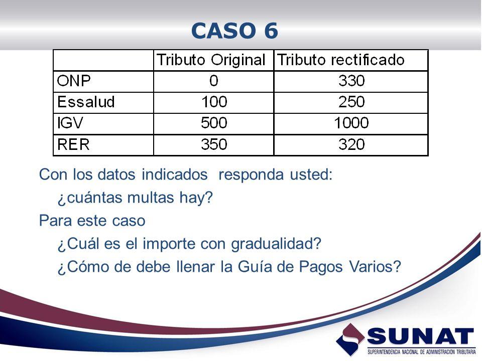 CASO 6 Con los datos indicados responda usted: ¿cuántas multas hay