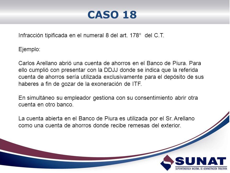 CASO 18 Infracción tipificada en el numeral 8 del art. 178° del C.T.