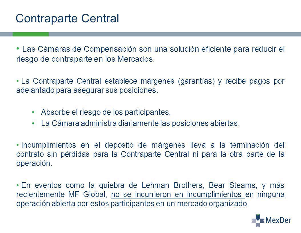 Contraparte Central Las Cámaras de Compensación son una solución eficiente para reducir el riesgo de contraparte en los Mercados.