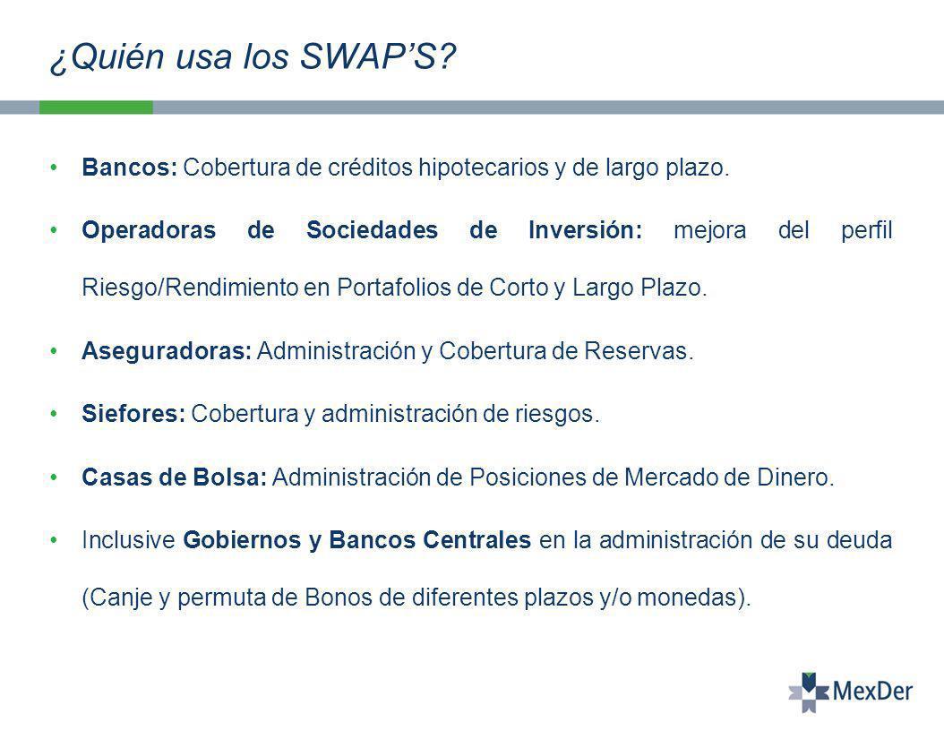 ¿Quién usa los SWAP'S Bancos: Cobertura de créditos hipotecarios y de largo plazo.