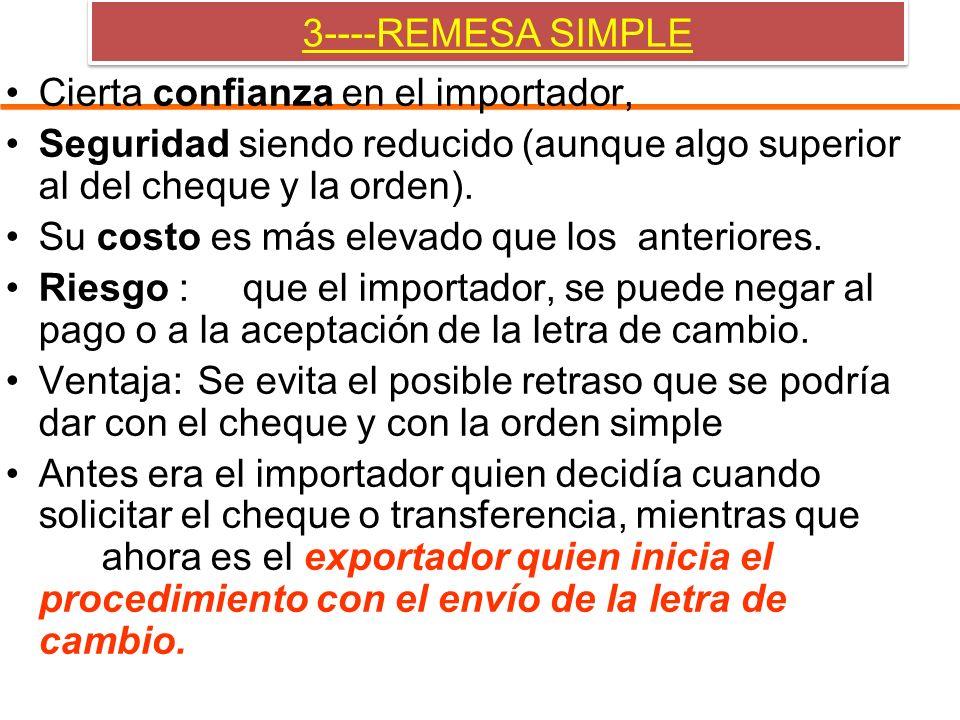 3----REMESA SIMPLE Cierta confianza en el importador, Seguridad siendo reducido (aunque algo superior al del cheque y la orden).