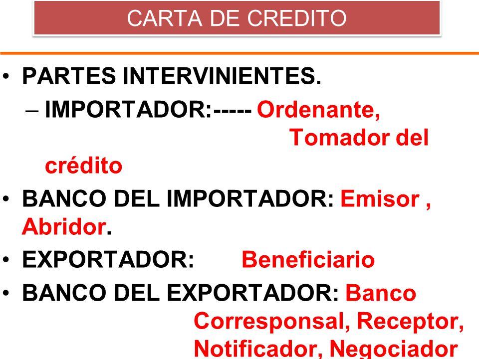 PARTES INTERVINIENTES. IMPORTADOR:----- Ordenante, Tomador del crédito