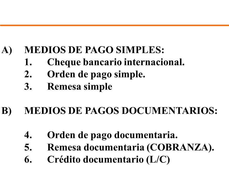A) MEDIOS DE PAGO SIMPLES: