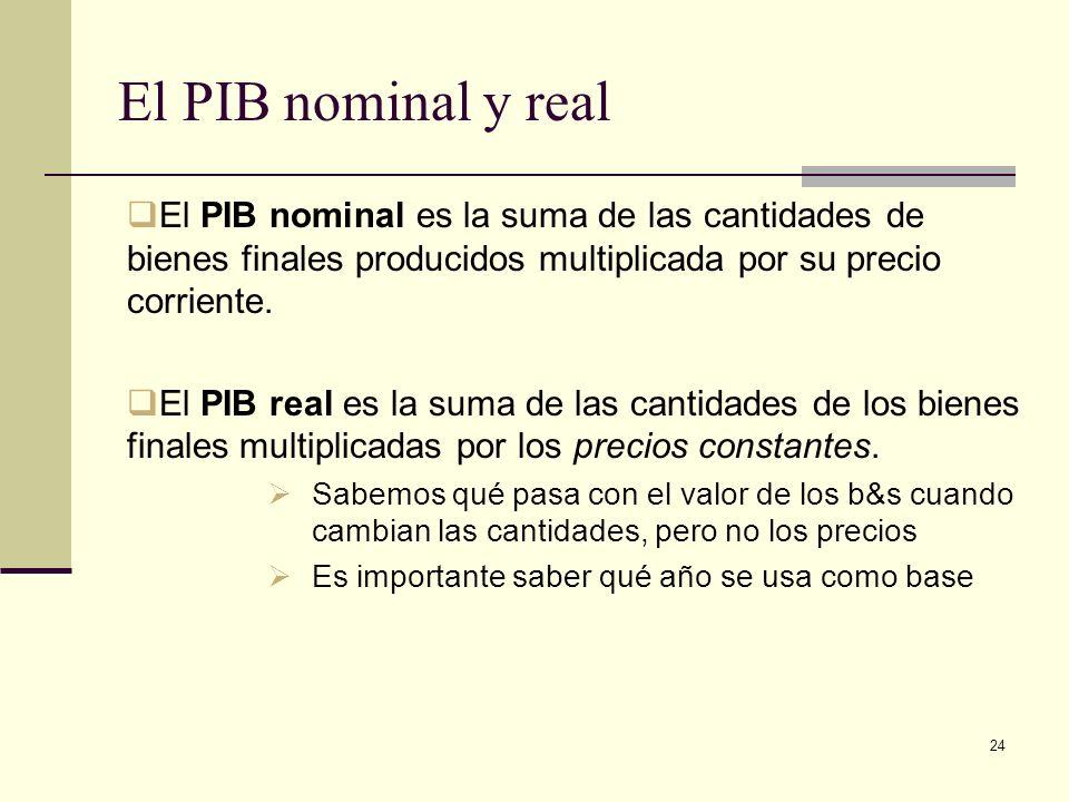 El PIB nominal y realEl PIB nominal es la suma de las cantidades de bienes finales producidos multiplicada por su precio corriente.