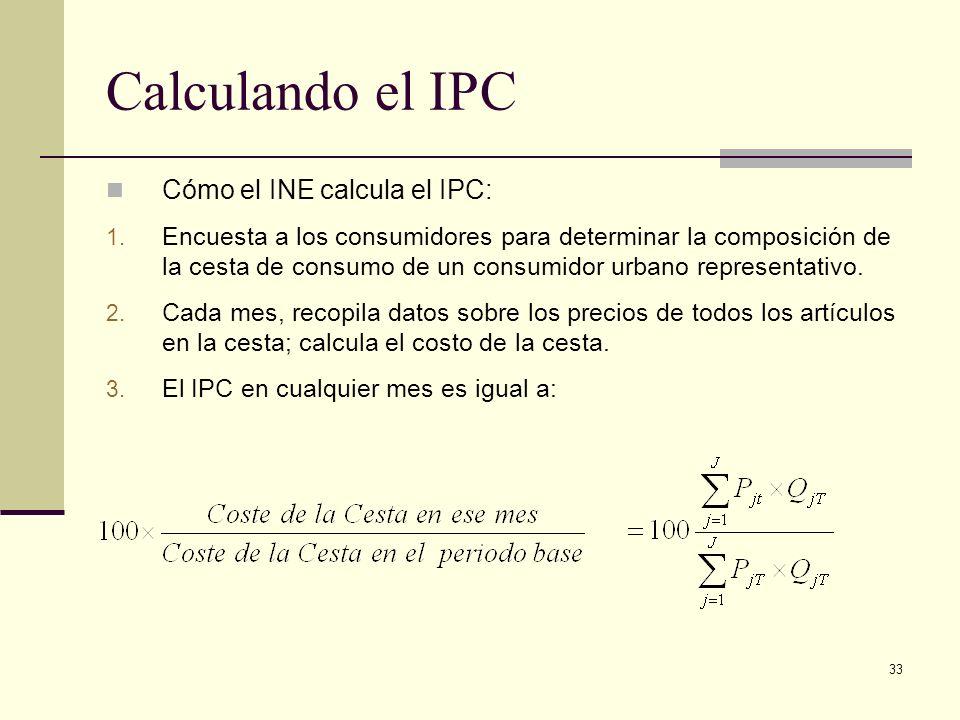 Calculando el IPC Cómo el INE calcula el IPC: