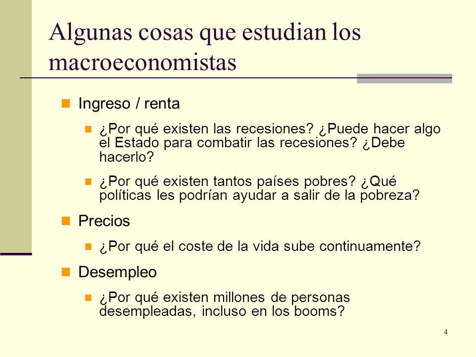 Algunas cosas que estudian los macroeconomistas