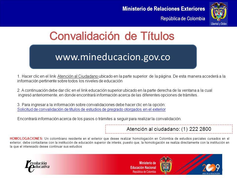 www.mineducacion.gov.co Convalidación de Títulos