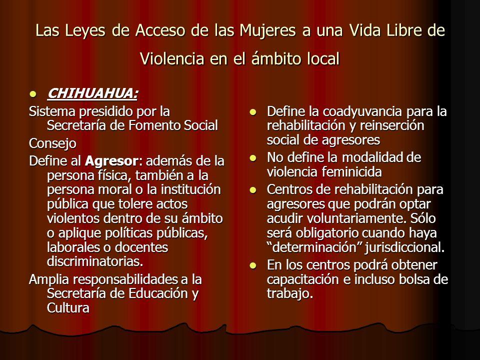 Las Leyes de Acceso de las Mujeres a una Vida Libre de Violencia en el ámbito local
