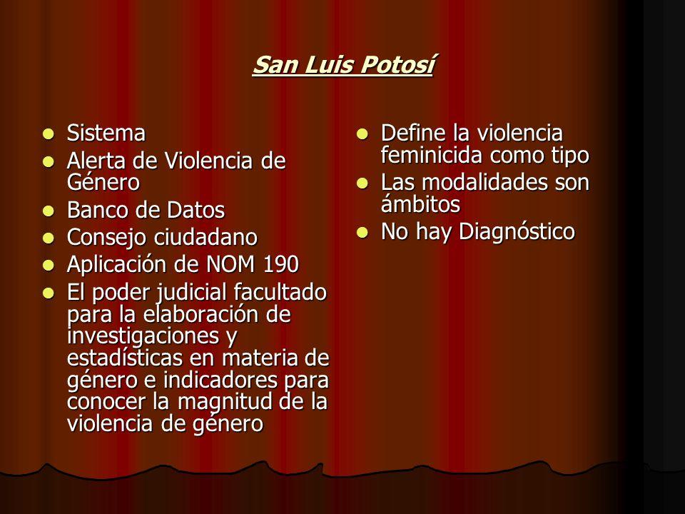 San Luis Potosí Sistema Alerta de Violencia de Género Banco de Datos