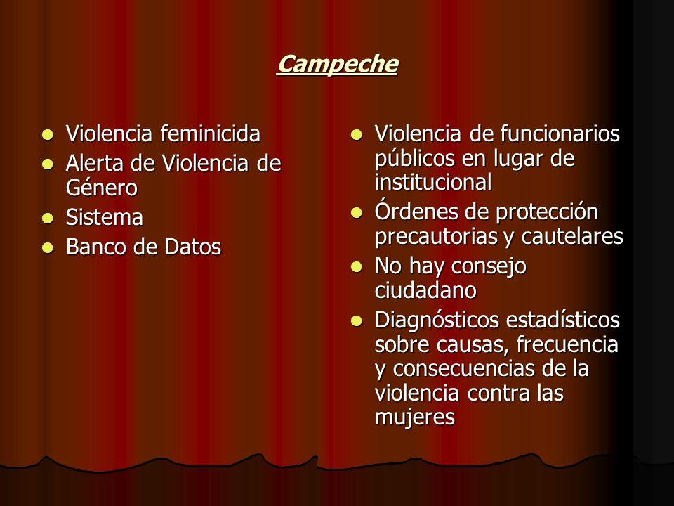 Campeche Violencia feminicida Alerta de Violencia de Género Sistema