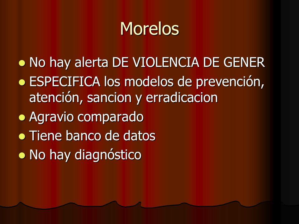 Morelos No hay alerta DE VIOLENCIA DE GENER