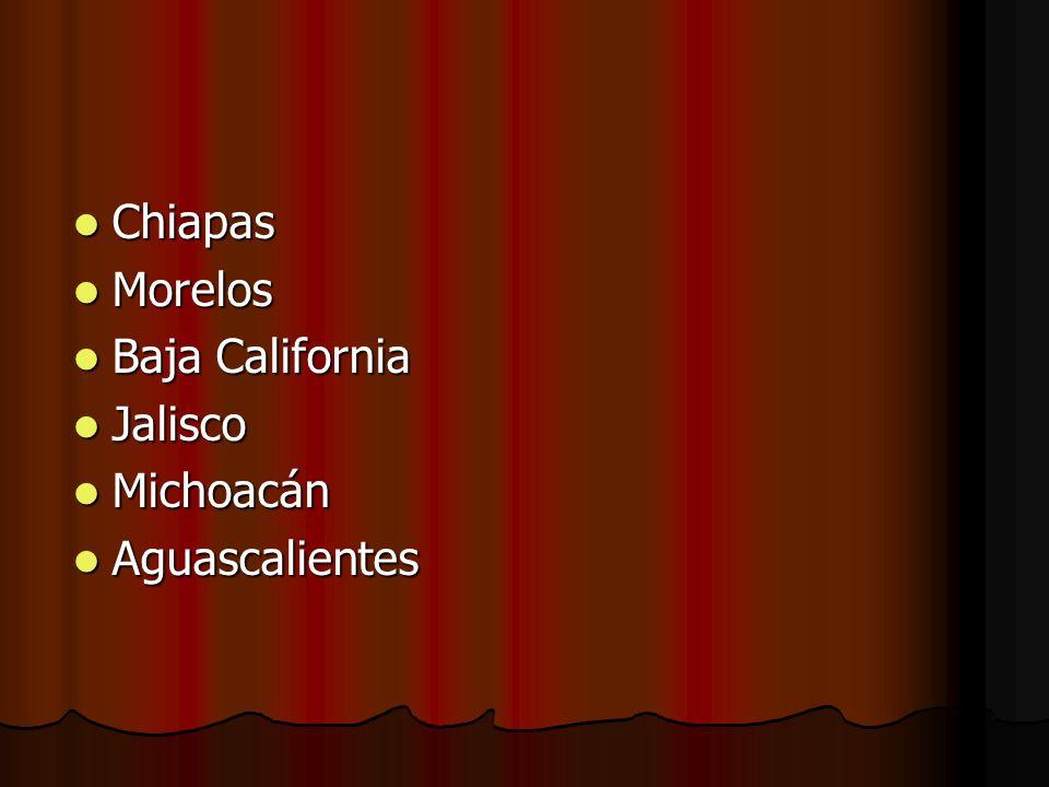 Chiapas Morelos Baja California Jalisco Michoacán Aguascalientes