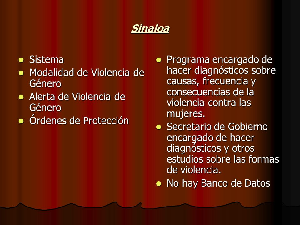 Sinaloa Sistema Modalidad de Violencia de Género