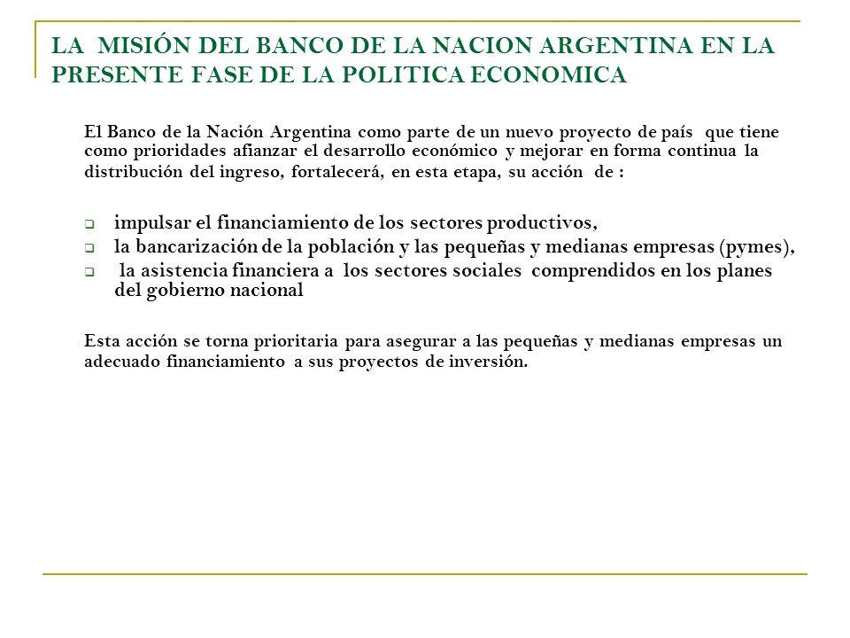 LA MISIÓN DEL BANCO DE LA NACION ARGENTINA EN LA PRESENTE FASE DE LA POLITICA ECONOMICA