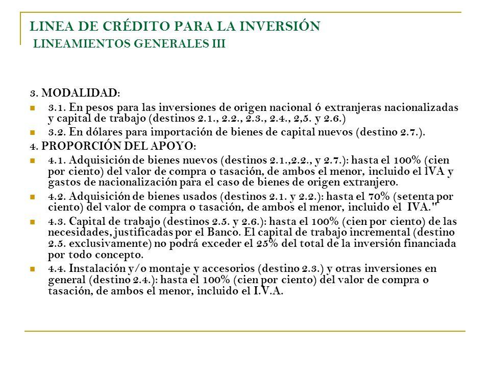 LINEA DE CRÉDITO PARA LA INVERSIÓN LINEAMIENTOS GENERALES III